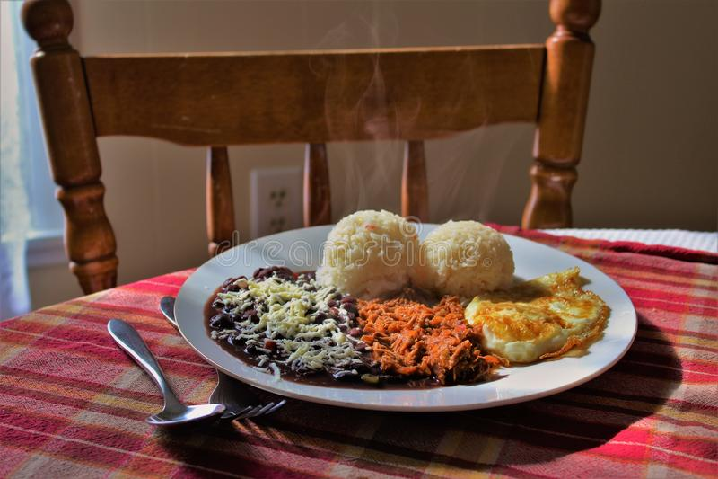 Плита венесуэльской кухни вызвала Criollo Pabellon, включая яичницу, shredded мясо, рис, черные фасоли, и солёный сыр стоковые фотографии rf
