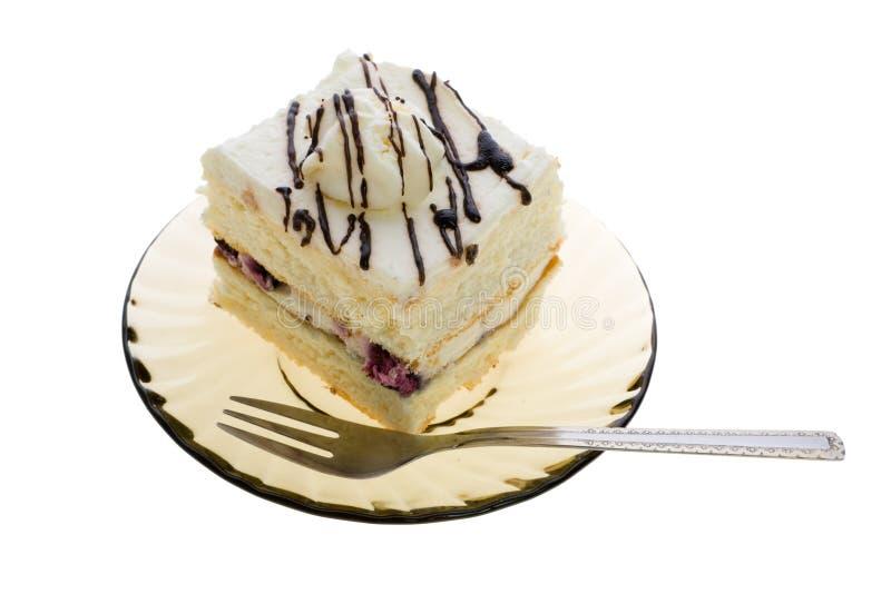 плита вилки торта стоковое фото