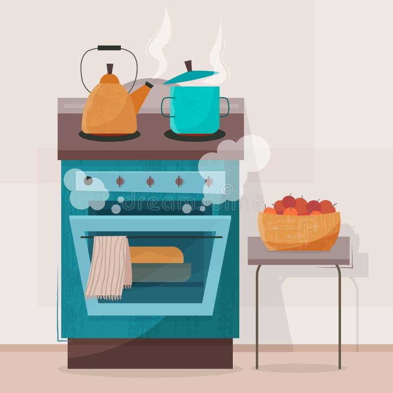 Плита в кухне Печь с блюдами бесплатная иллюстрация