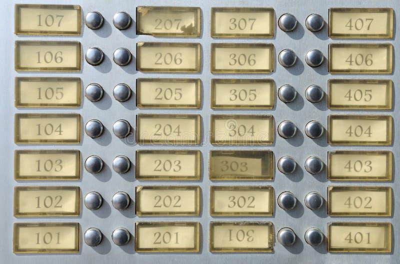 плита дома дверного звонока квартиры стоковые изображения rf