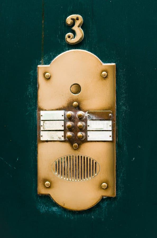 плита дома дверного звонока квартиры стоковая фотография rf