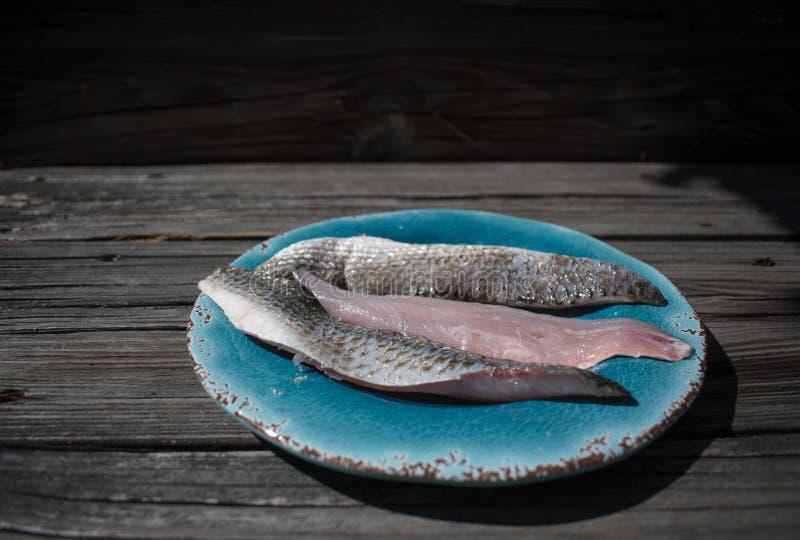 Плита морепродуктов филе свежих рыб стоковые изображения