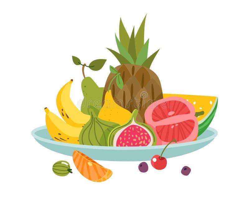 Плита плодов Здоровья диеты обеда плода блюда шара обедающего закуска очень вкусного свежая, вектор мультфильма изолировала бесплатная иллюстрация
