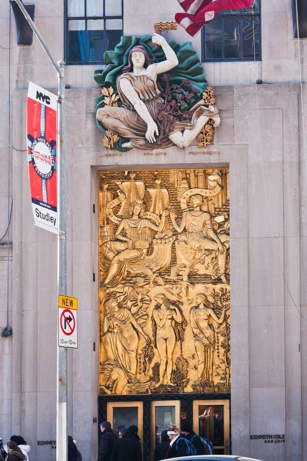 плита Рокефеллер york разбивочного города золотистая новая стоковые фотографии rf