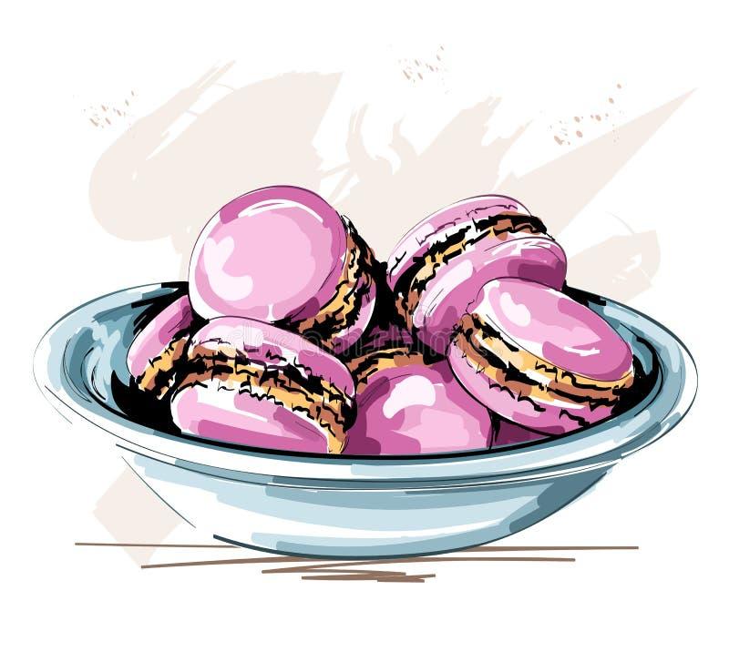 Плита руки вычерченная милая с розовыми macaroons красивейшие печенья эскиз иллюстрация вектора