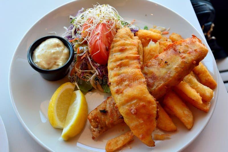 Плита рыб и обломоков с салатом стоковое фото