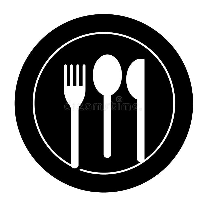 Плита с вилкой, ножом, ложкой иллюстрация штока