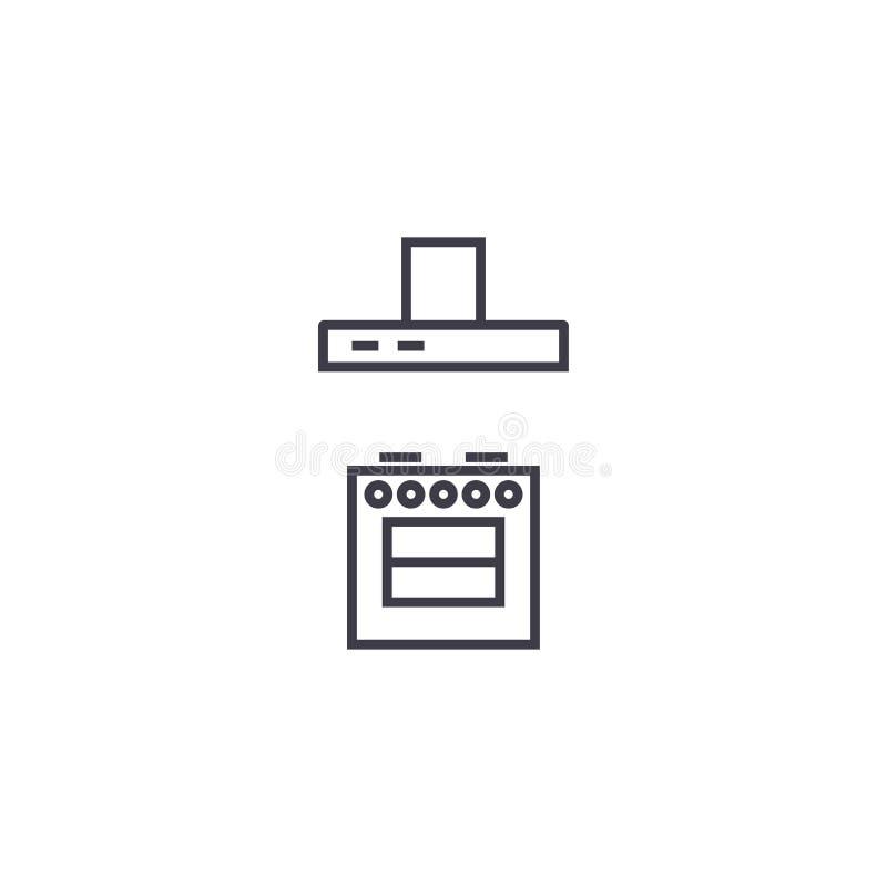 Плита с линией значком вектора сброса, знаком, иллюстрацией на предпосылке, editable ходах иллюстрация вектора