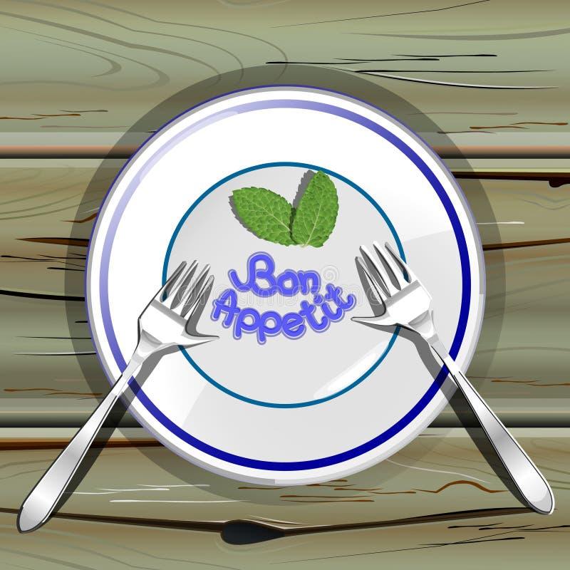 Плита с forkes на деревянной таблице иллюстрация штока