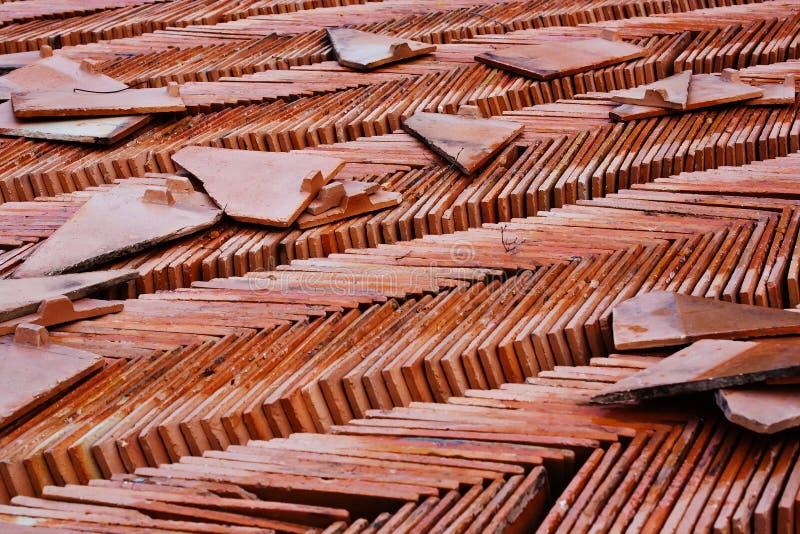 плитка близкого виска стога съемки крыши тайская вверх стоковая фотография