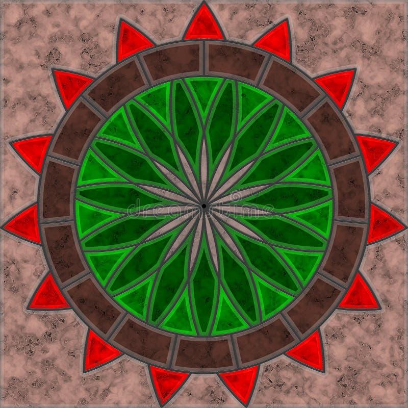Плитка Брауна, зеленых и красных мраморная с картиной цветка и круга иллюстрация штока