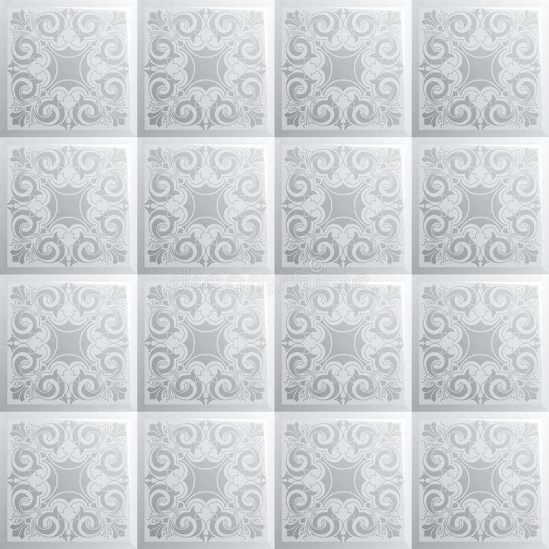 Плитка квадрата текстуры серой шкалы безшовная со спиральным орнаментом бесплатная иллюстрация