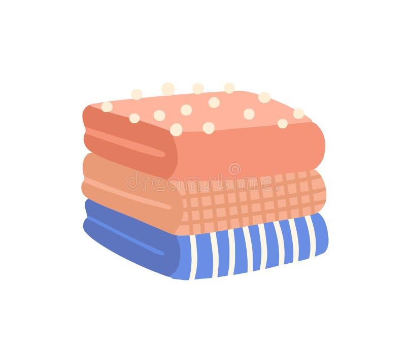 Плитка свитой одежды плоская векторная иллюстрация Украденная шерстяная одежда Полосатая и проверенная одежда Упакованная одежда иллюстрация вектора
