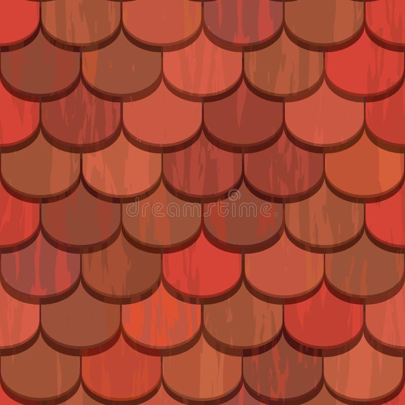 плитки красной крыши глины безшовные иллюстрация вектора