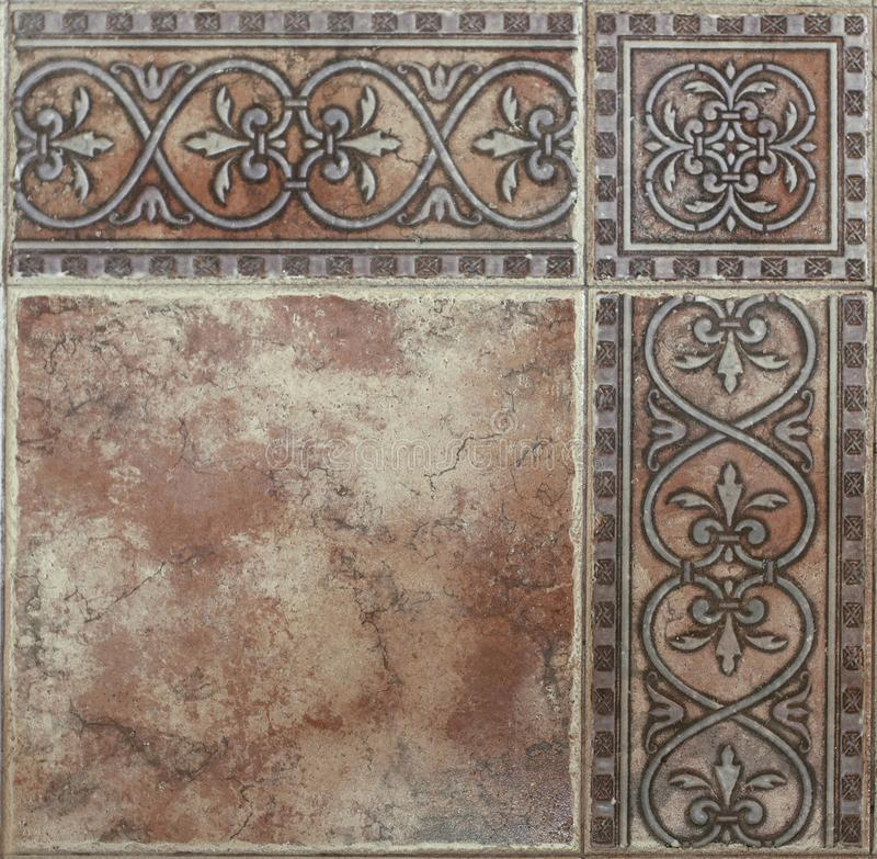 Плитки пола в ретро стиле с абстрактной картиной конца-вверх стоковая фотография