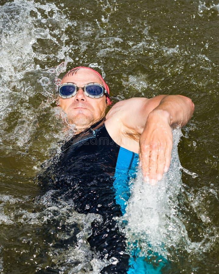 Пловец в заплывании backstroke стоковые фото