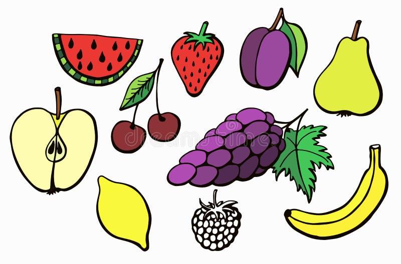 Плодоовощи вектора комплекта цвета покрашенные бесплатная иллюстрация