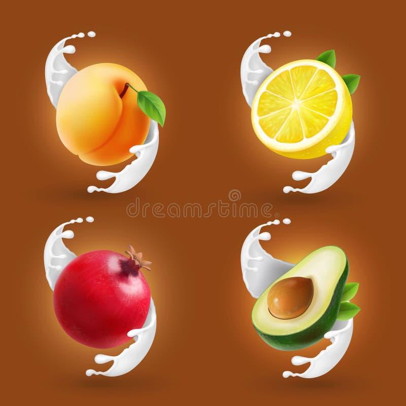 Плодоовощи в комплекте выплеска молока Грейпфрут, лимон, авокадо, значок собрания вектора абрикоса реалистический иллюстрация вектора