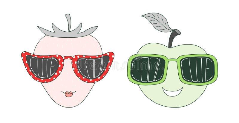 Плодоовощи в милых и холодных солнечных очках иллюстрация штока