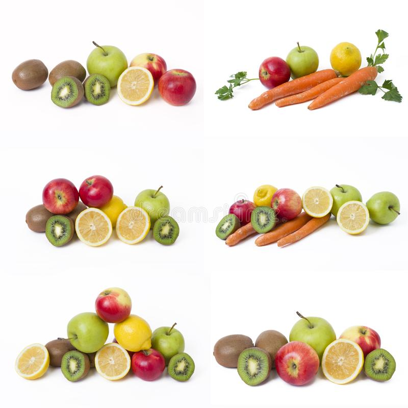 Плодоовощи в составе на белой предпосылке Лимон с яблоками и киви на белой предпосылке стоковая фотография