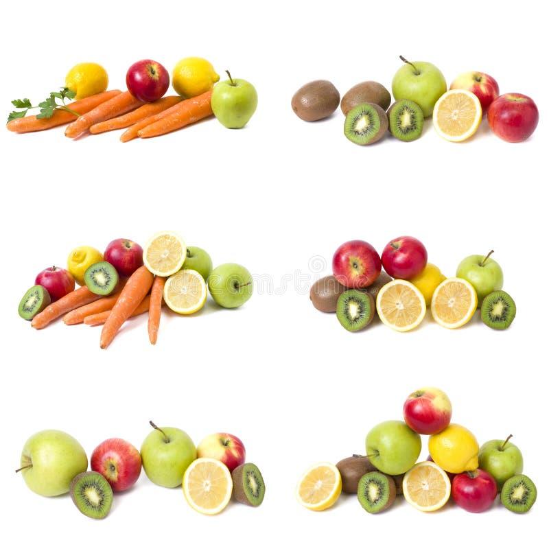 Плодоовощи в составе на белой предпосылке Лимон с яблоками и киви на белой предпосылке стоковое изображение