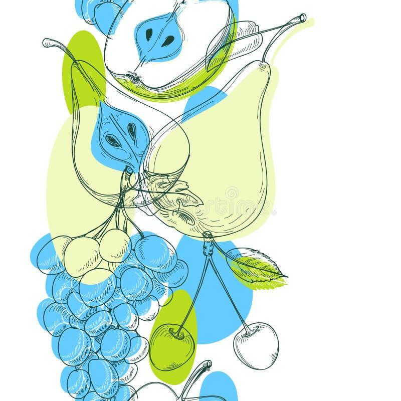плодоовощи делают по образцу безшовное иллюстрация вектора