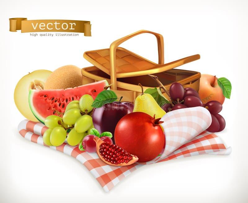 Плодоовощи и ягоды сбора Реалистический значок вектора 3d иллюстрация вектора