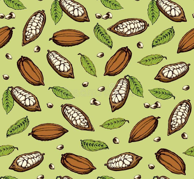 Плодоовощи какао предпосылка рисуя флористический вектор травы иллюстрация штока
