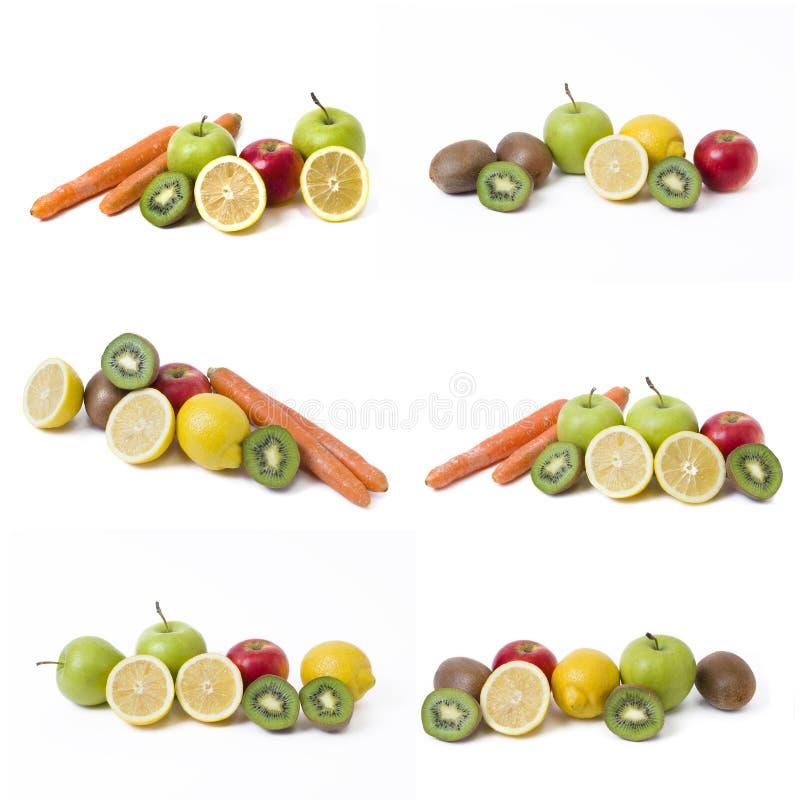Плодоовощи на белой предпосылке Лимон с яблоками и киви на белой предпосылке Киви с лимоном на белой предпосылке стоковые изображения