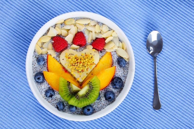 Плодоовощи, семена chia, пудинг молока миндалины стоковая фотография rf
