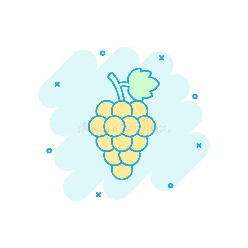 Плодоовощ виноградины шаржа вектора с значком лист в шуточном стиле пук иллюстрация штока