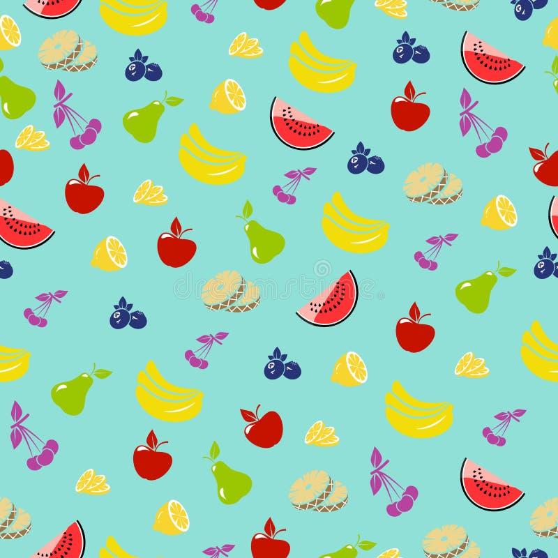 плодоовощ предпосылки безшовный Предпосылка вектора с ананасами, яблоками, вишнями иллюстрация штока