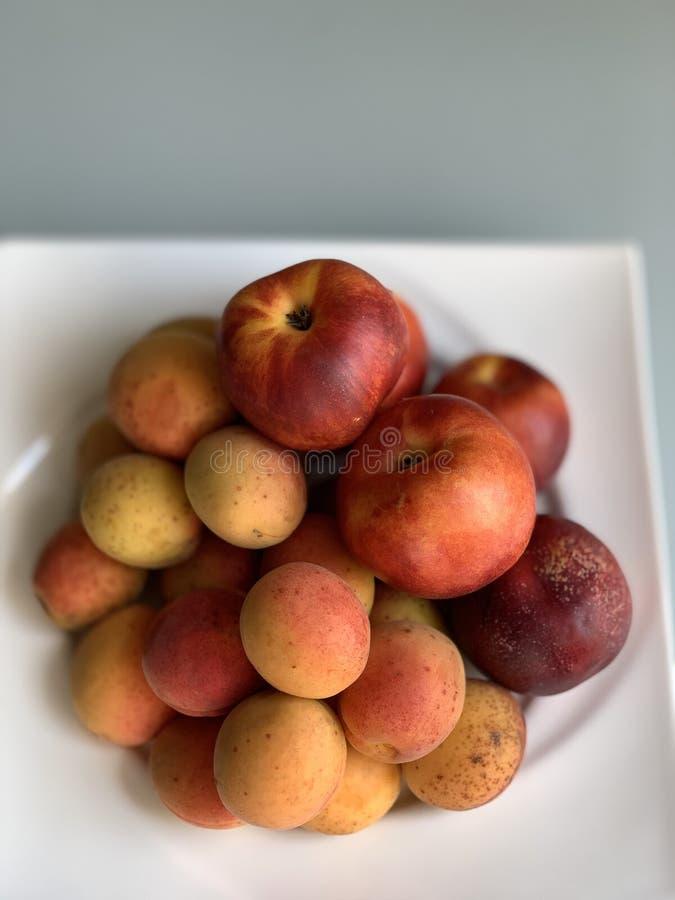 Плоды, абрикосы и нектарины на белой плите стоковая фотография rf