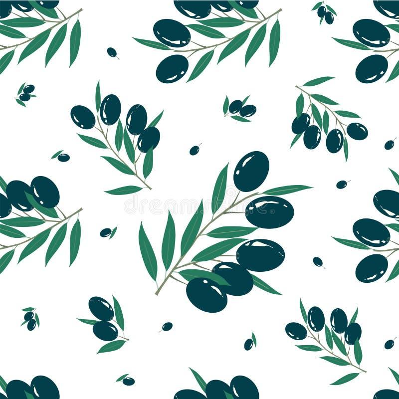 Плоды оливковой ветки черные, картина зеленых листьев безшовная на белизне бесплатная иллюстрация