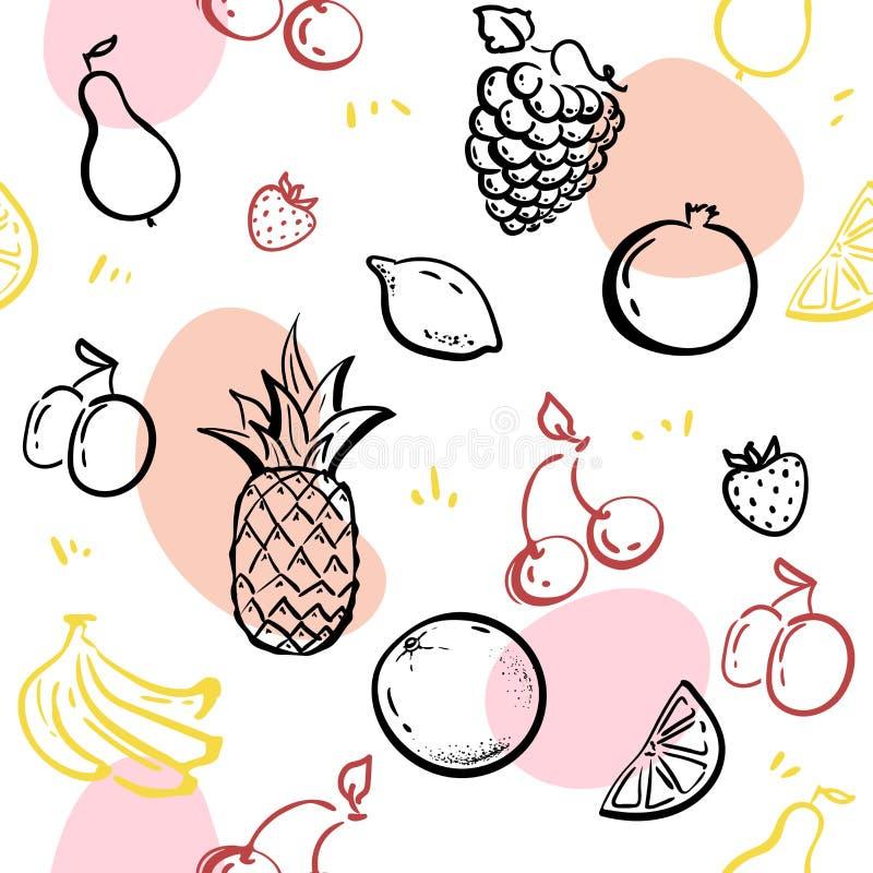 Плоды Doodle изолированные на векторе картины белого классн классного безшовном Здоровая иллюстрация эскиза питания ананас, клубн иллюстрация штока
