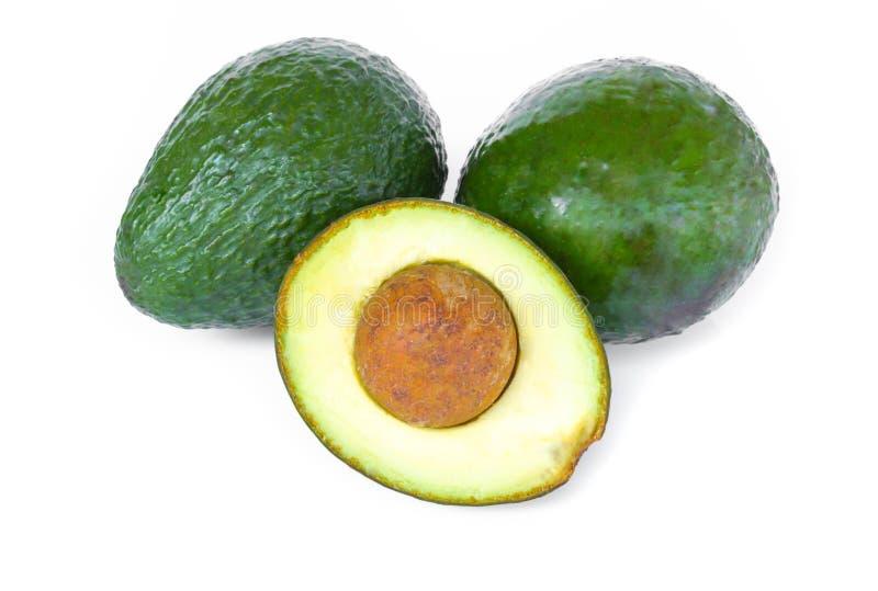 Плод авокадоа взгляда сверху свежий зрелый изолированный на белой предпосылке с космосом экземпляра, здоровой концепцией еды стоковая фотография