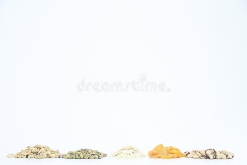 Плод сухой Сан-Паулу Бразилия предпосылки обзора гайки грецкого ореха миндалины фисташки Дамаска белый стоковая фотография