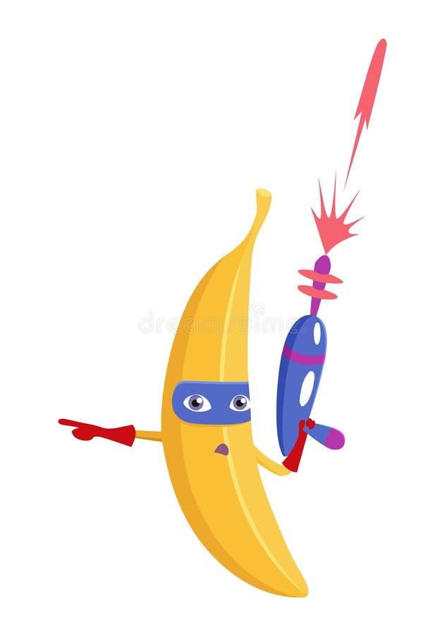 Плод характера банана в костюме супергероя Концепция здорового питания, естественных вегетарианских органических продуктов Милый  бесплатная иллюстрация