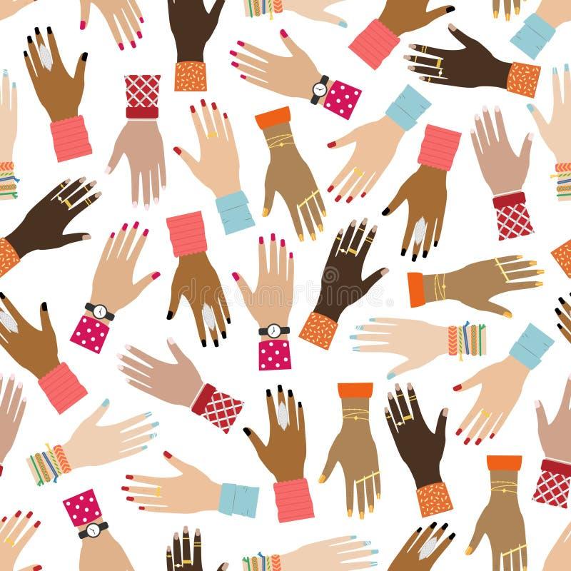 Плоская безшовная картина с руками девушки Феминист предпосылка Право женщин Расовое разнообразие иллюстрация штока