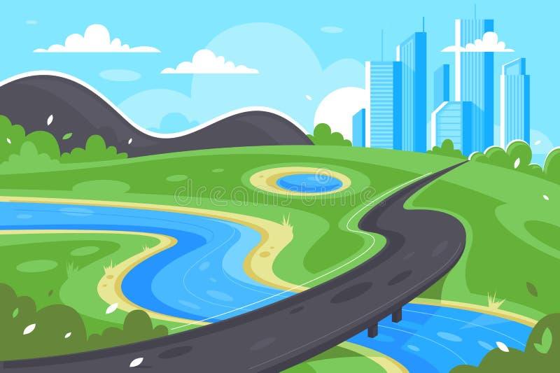 Плоская дорога к городу около реки, зеленого ландшафта и горы бесплатная иллюстрация