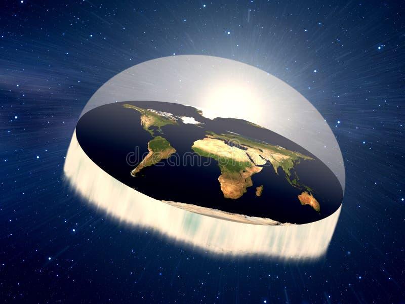 Плоская земля в космосе или cosmo иллюстрация вектора
