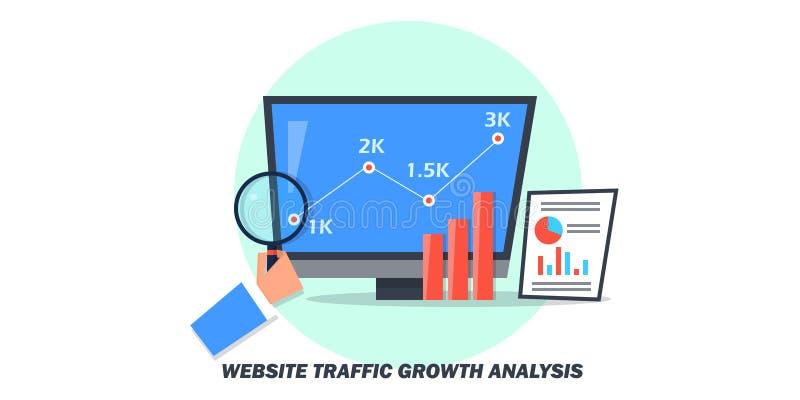 Плоская идея проекта движения вебсайта, анализа роста, управления данными иллюстрация вектора
