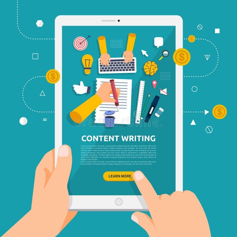 Плоская идея проекта learnning о содержимом сочинительстве онлайн с бесплатная иллюстрация