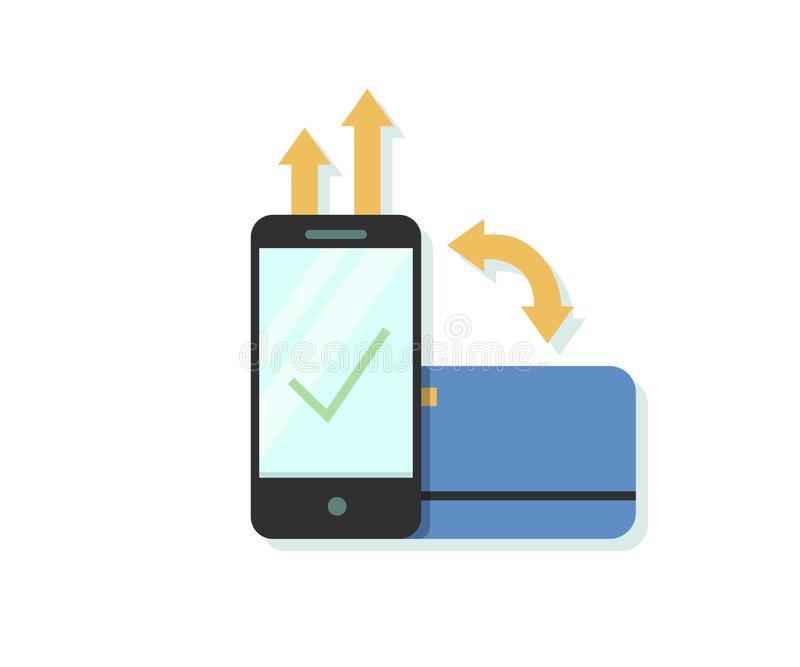 Плоская иллюстрация вектора дизайна онлайн оплаты через smartphone app с кредитом или кредитной карточкой бесплатная иллюстрация