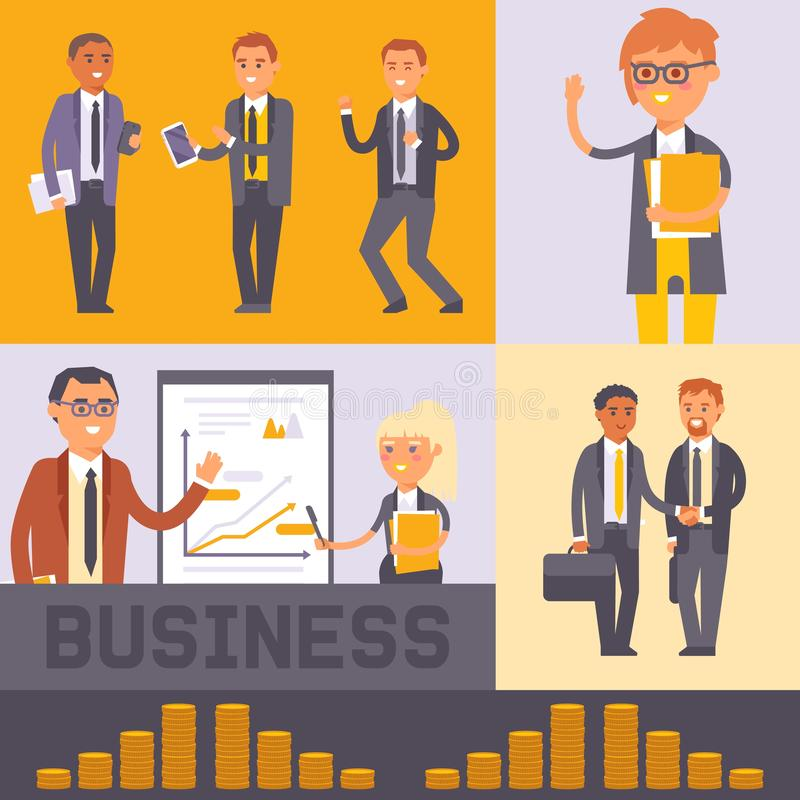 Плоская иллюстрация вектора знамени бизнесмена людей Бизнесмен и женщина в официальных черных костюмах тряся руки Работники иллюстрация вектора