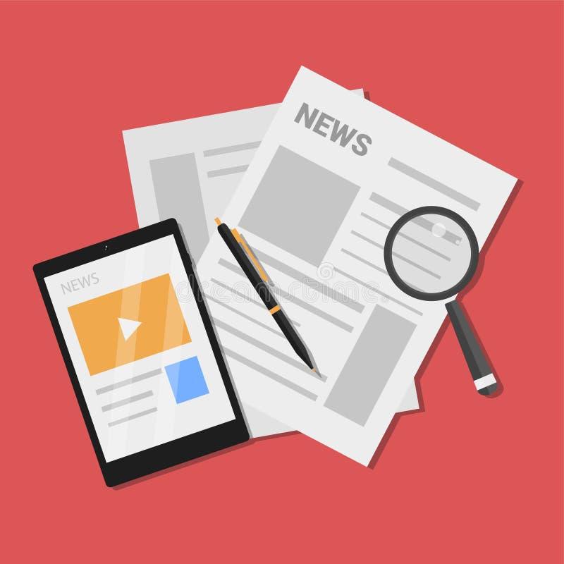 Плоская иллюстрация вектора новостей иллюстрация вектора