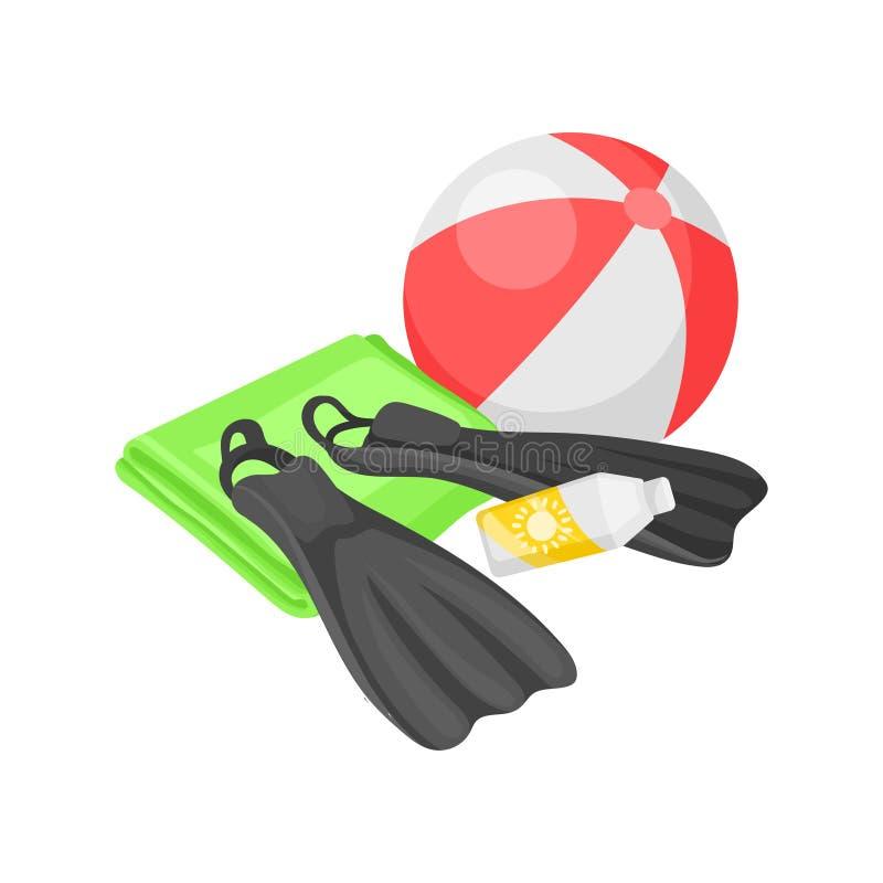 Плоская иллюстрация вектора шарика пляжа, флипперов, полотенца и бутылки солнцезащитного крема Пристаньте каникулу к берегу актив иллюстрация штока