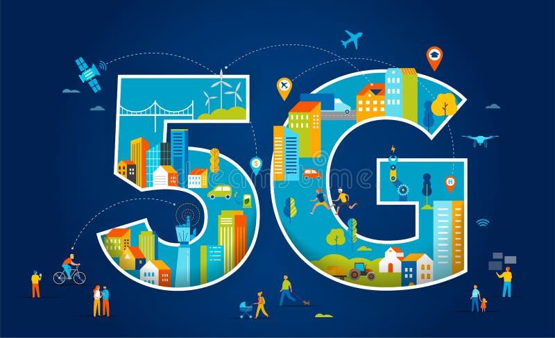 плоская иллюстрация вектора 5G Люди с мобильными устройствами в умном городе иллюстрация штока