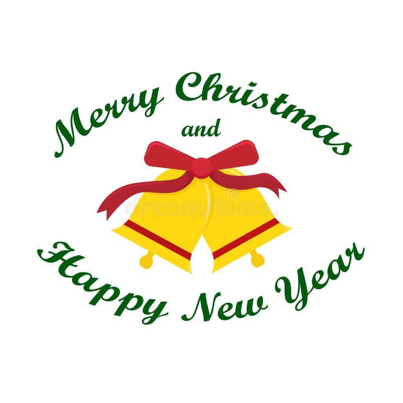 Плоская иллюстрация вектора ` s Нового Года с колоколами рождества S бесплатная иллюстрация