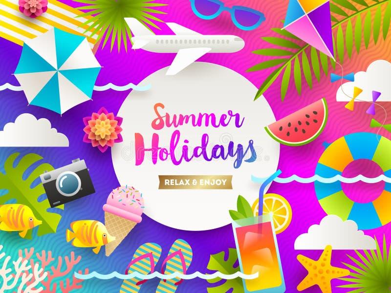 Плоская иллюстрация дизайна Летние отпуска и вещи и детали каникул пляжа на яркой предпосылке градиента иллюстрация штока